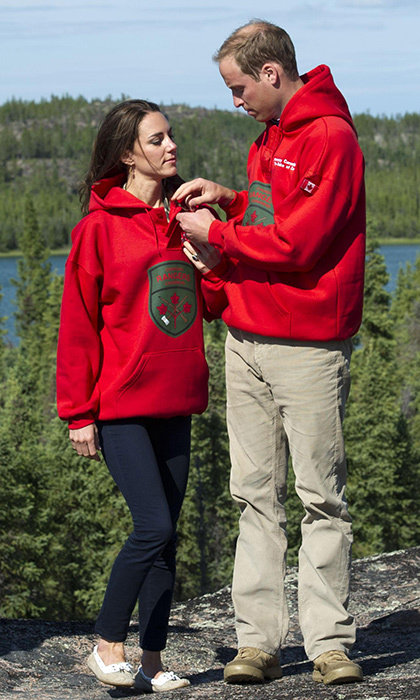 The newlywed Duke and Duchess of Cambridge could have been mistaken for a pair of university students in their matching Rangers sweatshirts in July 2011 during a visit to Blatchford Lake, Northwest Territories, Canada. 