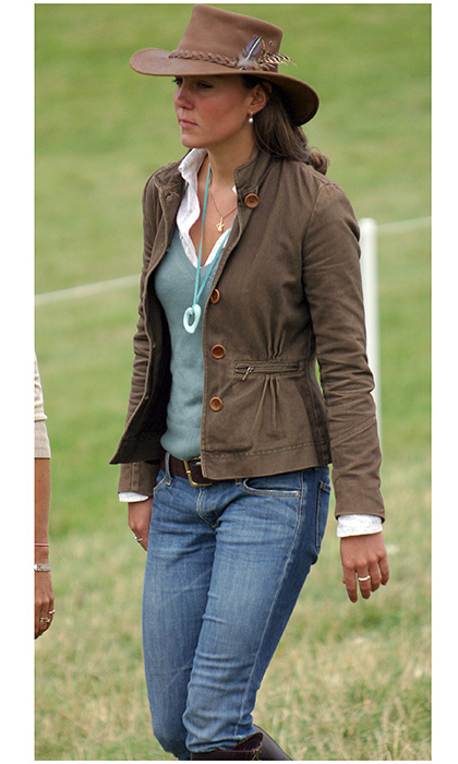 Long before she became the Duchess of Cambridge, Kate Middleton was already showing her signature style in a leather hat, tailored jacket and jeans tucked into boots at Gatcombe Park Festival of British Eventing in August 2005.