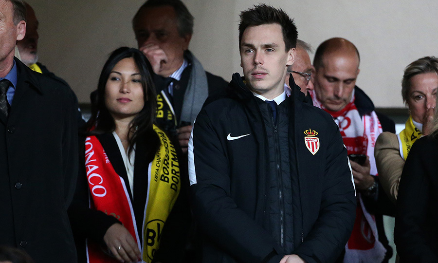 Joined by his girlfriend Marie, Princess Stephanie of Monaco's son Louis Ducruet took in the UEFA Champions League quarter final soccer match between AS Monaco and Borussia Dortmund at Stade Louis II on April 19 in Monaco.
