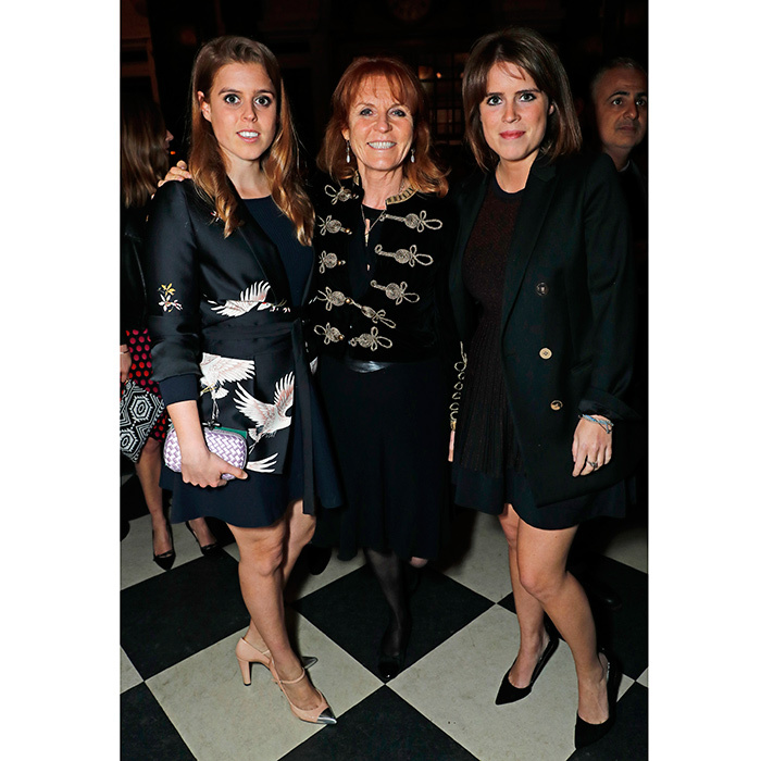 April 26: At the launch of The Ned, London, Sarah, Duchess of York and her daughters showed they love high-low fashion! Princess Beatrice, left, wore a jacket from Zara's spring collection, while her mom donned a military-style jacket from the brand that Bea was spotted in last year.