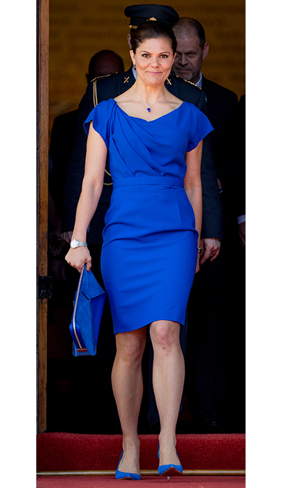April 26: Sweden's future queen Crown Princess Victoria wore a strong color block in royal blue at the 20th anniversary of the Organisation for the Prohibition of Chemical Weapons (OPCW) in the Ridderzaal in The Hague.
