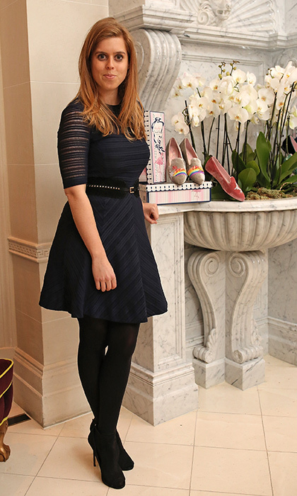 April 25: Princess Beatrice of York continued her stylish week in a knit skater dress at a VIP dinner celebrating Mrs Alice for French Sole at The Connaught Hotel in London.