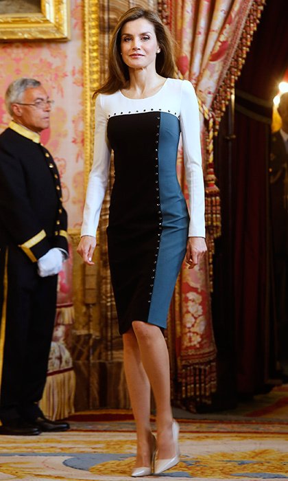 April 19: Queen Letizia of Spain donned an embellished color block dress for an official lunch for the Miguel de Cervantes Literature award at the Royal Palace in Madrid.