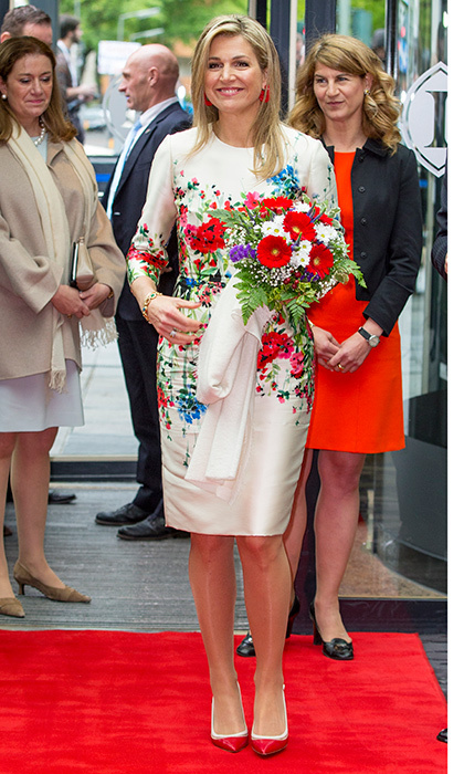 April 25: Queen Maxima of the Netherlands was all about spring blossoms for the W20 conference in Berlin, Germany. 