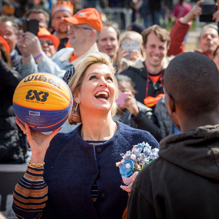 Queen Maxima showed off her sporty side participating in an activity during her husband's 50th birthday celebration in the Netherlands.