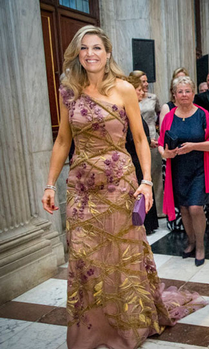 April 28: Queen Maxima invited 150 guests to the palace for King Willem-Alexander's birthday celebration where she stunned in an embellished one-shouldered gown.
