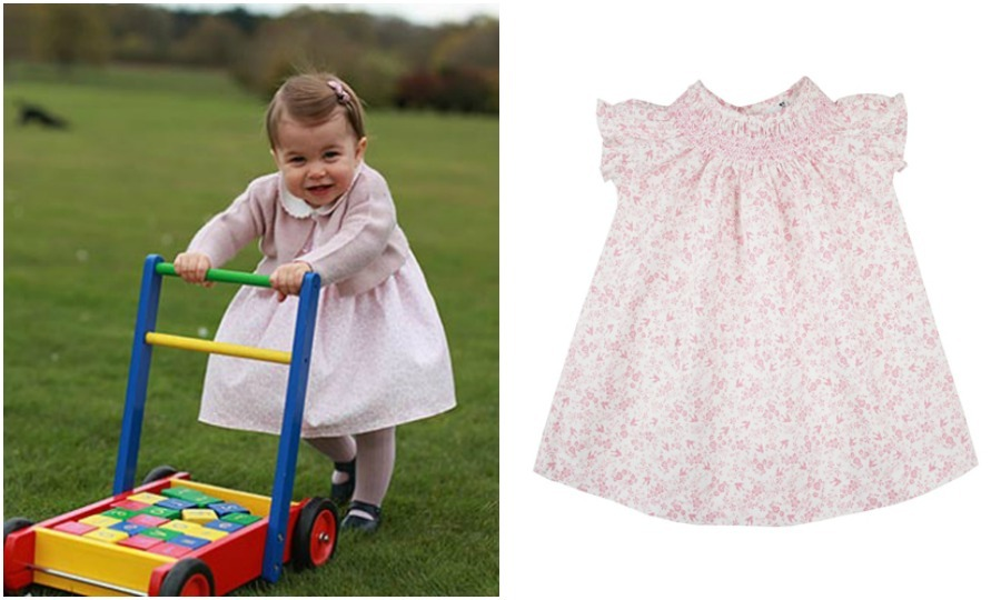For her first birthday, Kate Middleton put Charlotte in two dresses from Spanish retailer M&H. In the photo shot outdoors, the one-year-old held on as she walked the grounds in a pink floral dress that costs around $40 with a cardigan from the same designer. The little Princess also wore shoes from Early Days and ribbed tights from Amaiakids.