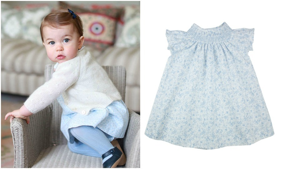Inside, Charlotte showed off another M&H floral dress, this time in blue. To keep warm, she was covered up in a  Olivier Baby and Kids Cream Rose Stitch cardigan that ranges in price from $79 - $130 depending on the size.