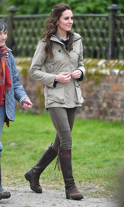The Duchess kicked off May 2017 in some well-worn boots, a rain jacket, and Zara jeans as she spent an afternoon working on a farm in Gloucester, England with the Farms for City Children charity.