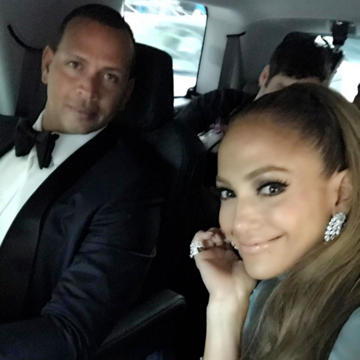"Before making their red carpet debut as a couple, Jennifer Lopez shared a selfie with her ""macho bello"" [Alex Rodriguez] en route to the Met Gala in NYC.