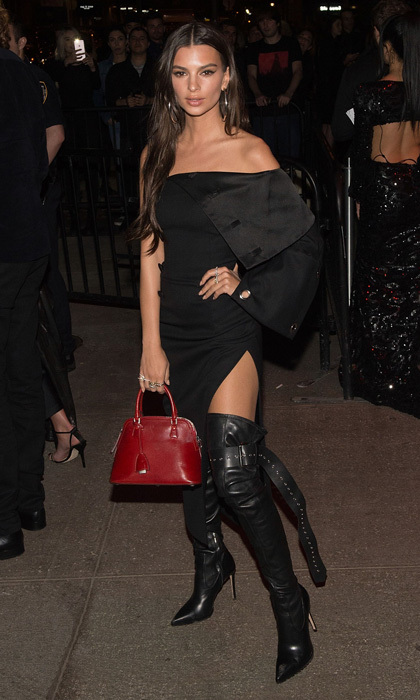 Emily Ratajkowski changed into an all-black ensemble after the gala to attend Katy Perry and the Standard's after-party at the Boom Boom Room in New York City.