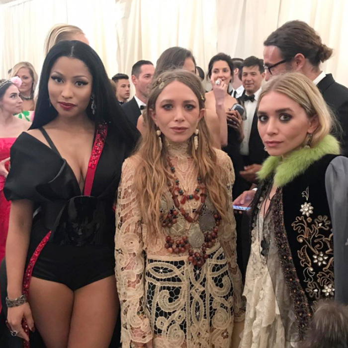 "Nicki Minaj was fangirling over the Olsens twins ahead of entering the ball. ""Omg I'm gagging  #MetGala2017,"" she wrote alongside a photo of herself with Mary-Kate and Ashley.