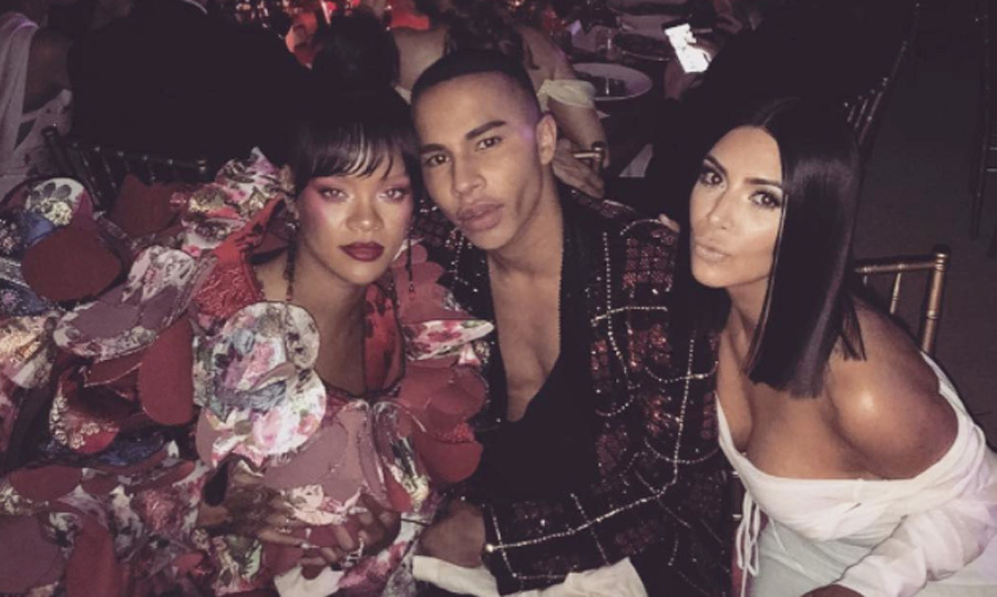 "It was a ""rihunion"" for Balmain's creative director, olivier_rousteing, Rihanna and Kim Kardashian at the 2017 Met Ball.