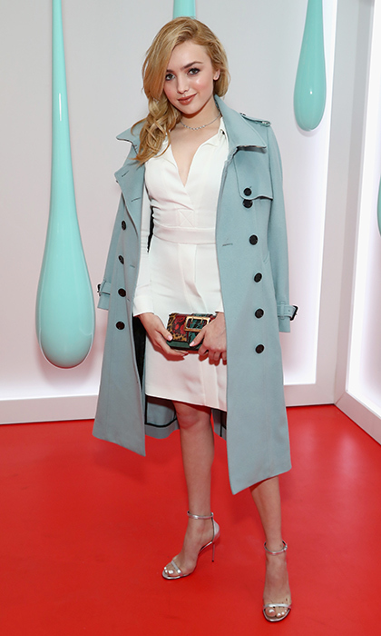 Donning a must-have Burberry trench, Peyton List attended the launch of the British brand's DK88 Bag at Burberry Soho in New York City. 