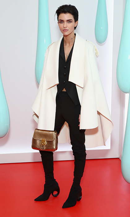 Ruby Rose rocked a modern caped Burberry look at the launch of the Burberry DK88 Bag hosted by Christopher Bailey at Burberry Soho in New York City. 