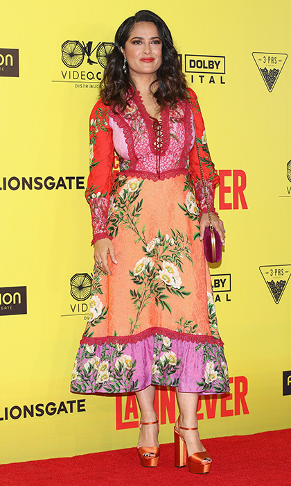 Salma Hayek had us ready for summer in this colorful floral dress and sherbet heels at the <I>How To Be A Latin Lover</I> premiere in Mexico City.