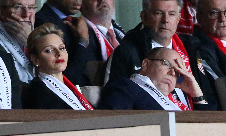The agony of defeat! Seated next to wife Princess Charlene at Louis II stadium, soccer fan Prince Albert of Monaco looked like he was feeling the pain of AS Monaco's hometown defeat against Juventus Turin on May 3.