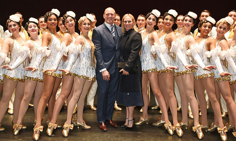 Queen Elizabeth's granddaughter Zara Tindall and husband Mike Tindall joined cast members of the West End production of <I>42nd Street</I> backstage at the Theatre Royal, Drury Lane, London on May 4.