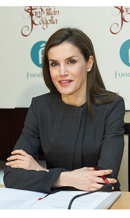 And we're on the air! Former news anchor Queen Letizia of Spain looked like she had returned to her roots as she attended the 12th International Seminar of Language and Journalism in San Millan de la Cogolla, Spain on May 3.