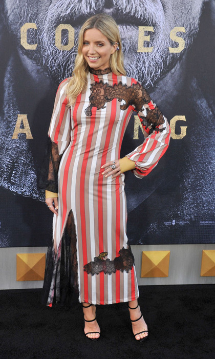 Annabelle Wallis went with a striped midi dress with lace inserts for the <i>King Arthur - Legend of a Sword</i> premiere in L.A.