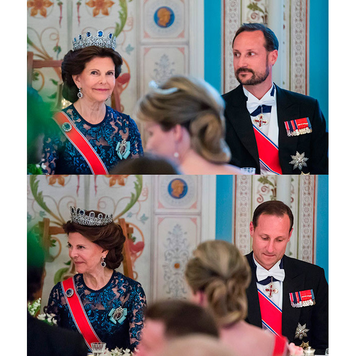 "Inside the dinner, Crown Prince Haakon, who was seated next to Queen Silvia, underwent a dramatic transformation about halfway through. The King and Queen's son shaved his beard ""as part of the entertainment during the gala dinner."" 