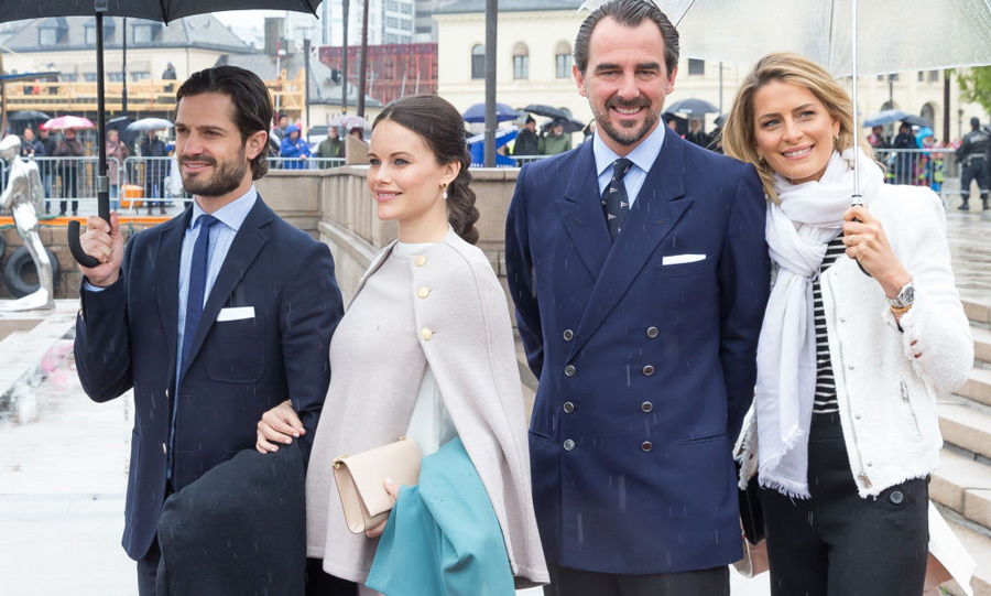 Princess Sofia's baby bump was on full display in her beige ensemble along with her husband Prince Carl Philip and Greece's Prince Nikolaos and Princess Tatiana.