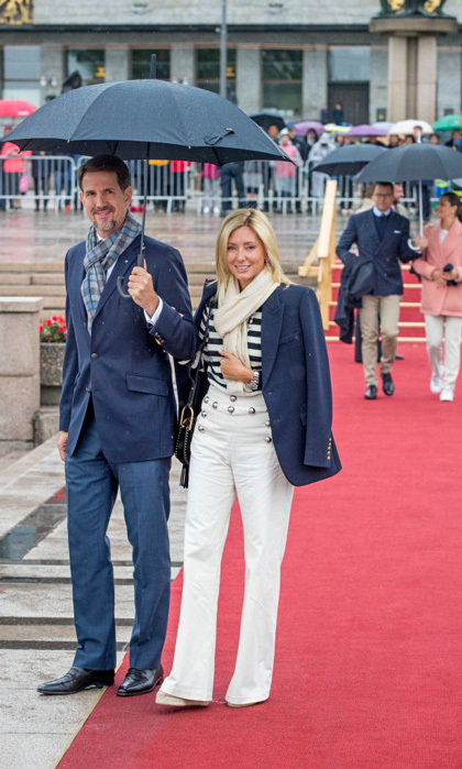 Marie Chantal, with her husband Crown Prince Pavlos, had the right idea for a boat trip in her nautical attire, but as she showed off on her Instagram, her shoe choice of platform sheer wedges weren't the smartest for the close to freezing temperatures and snow.