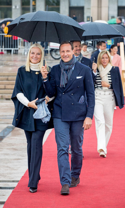 Crown Prince Haakon was all smiles as he showed off his fresh face with wife Crown Princess Mette-Marit.