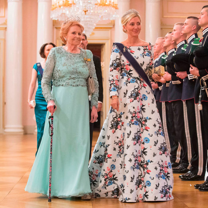 Crown Princess Marie-Chantal of Greece made a floral statement donning a ballgown to the celebration.
