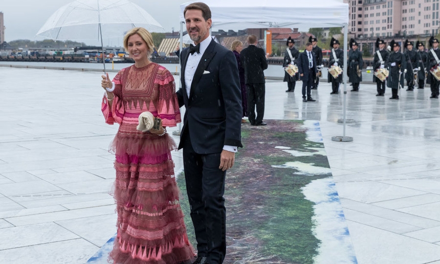 Princess Marie Chantal wore one of her go-to favorites, Valentino for the 80th birthday celebration of King Harald and Queen Sonja.