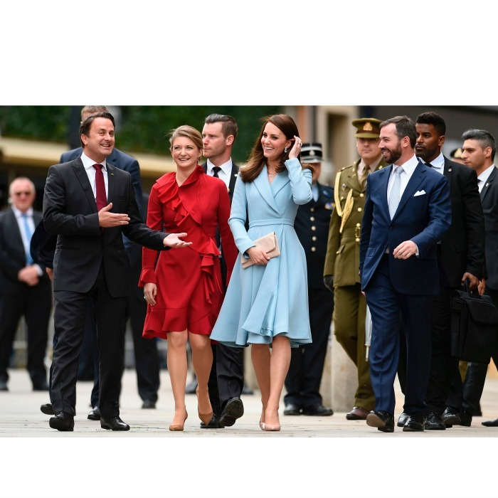 Arriving in style! Kate Middleton wowed wearing a blue coat dress by Emilia Wickstead for her five hour solo trip to Luxembourg. The Duchess, who traveled to the European country for the official commemoration of the 1867 Treaty of London, was greeted by Princess Stéphanie upon her arrival.