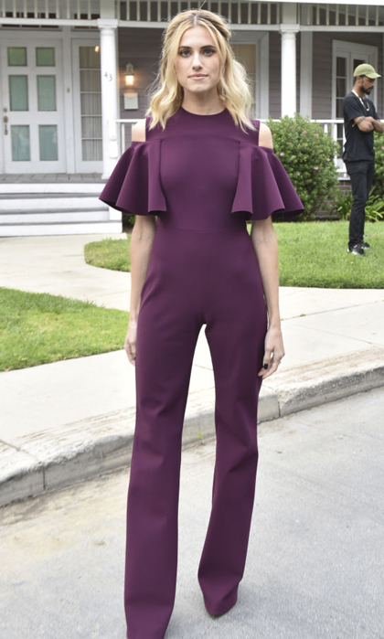 Allison Williams wore a purple jumpsuit to a <i>Get Out</i> event in Universal City, California.