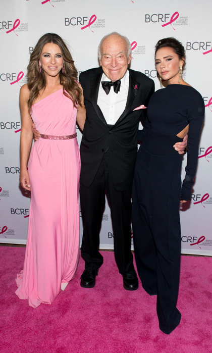 Leonard Lauder was one lucky guy in the middle of Elizabeth Hurley and Victoria Beckham at the annual BCRF's Hot Pink Gala in NYC. <i>The Royals</i> star wore a Jovani pink gown while Victoria opted for a black backless jumpsuit for the event that raised $6 million for breast cancer research.