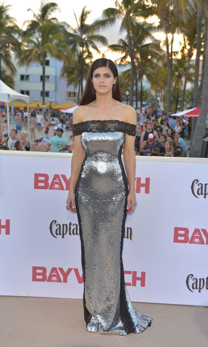 Alexandra Daddario wore an off-the-shoulder silver sequin gown with lace panels to the <i>Baywatch</i> premiere in Miami.