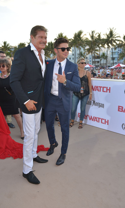 Zac Efron met up with <i>Baywatch</i> original David Hasselhoff at the Miami premiere.