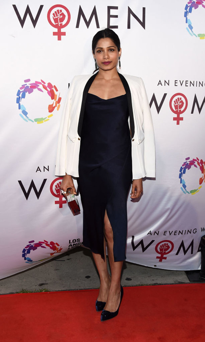 "Freida Pinto kept it simple in a LBD for the Los Angeles LGBT Center's ""An Evening With Women"" at the Hollywood Palladium.