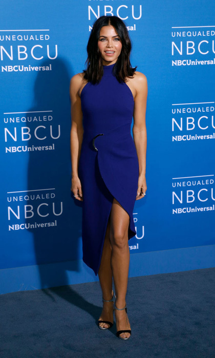 Jenna Dewan Tatum matched the blue carpet at the NBC Universal Upfronts for her show <i>World of Dance</i> in her David Koma dress.