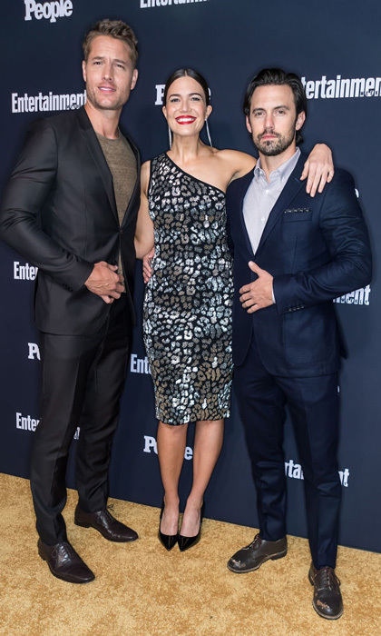 This is how the <i>This is Us</i> cast does a red carpet. Justin Hartley, Mandy Moore, in Michael Kors collection, and Milo Ventimiglia attended the Entertainment Weekly and People Upfronts party in NYC.