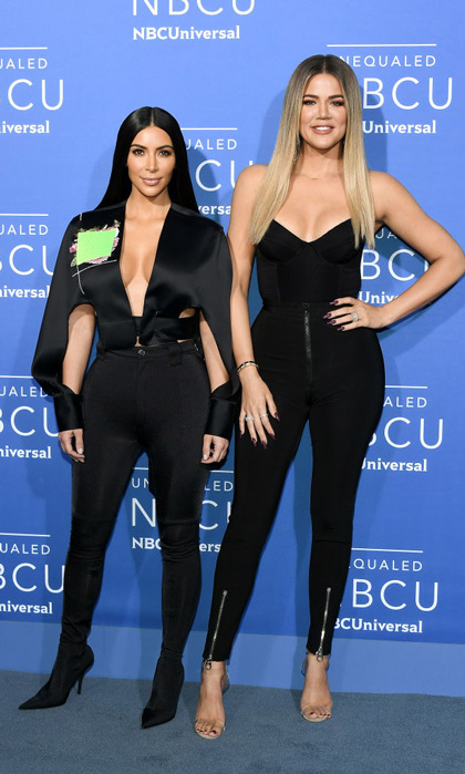 Kim Kardashian West and Khloe Kardashian were keeping up with their coordinating outfits at the NBC Universal Upfronts in NYC.