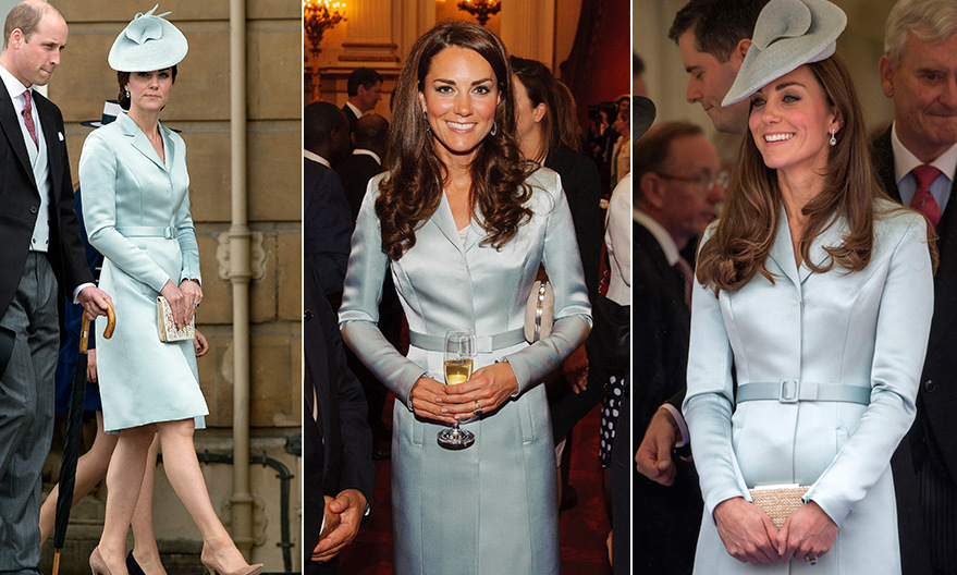 For the May 16, 2017 garden party at Buckingham Palace (left) the Duchess of Cambridge reached way back in her closet for this nearly five-year old ensemble: a Christopher Kane coatdress and 'Sweet Delight' hat by Lock & Co.