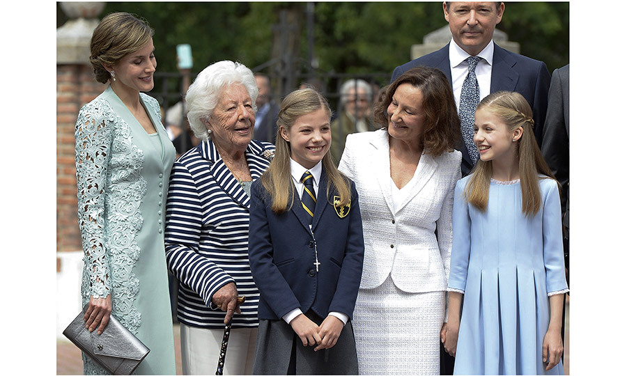 For her First Communion, Princess Sofia's grandparents King Juan Carlos and Queen Sofia were on hand, but in addition to the royals, the young princess, center, had the support of mom Queen Letizia's family, too. Onetime news anchor Letizia's grandmother Menchu Álvarez del Valle (second from left), a former radio host, was in attendance, as was the queen's mom Paloma Rocasolano (second from right).