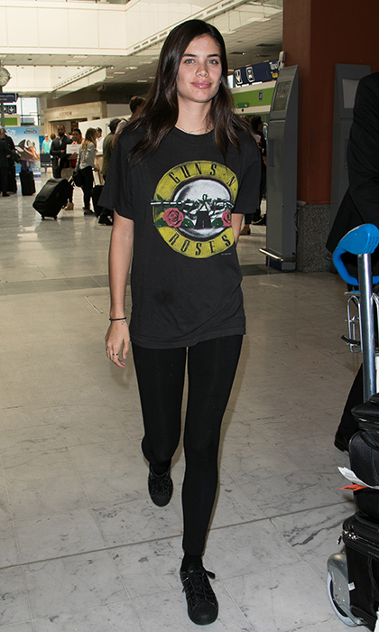 Model Sara Sampaio unleashed her inner rock chick as she arrived at Nice airport during the 70th annual Cannes Film Festival.