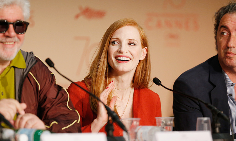 Jessica Chastain was flanked by President of the Jury Pedro Almodovar and fellow jury member Paolo Sorrentino during a press conference to help launch the 70th annual film fest. 
