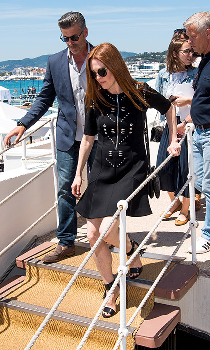 Julianne Moore arrived in style wearing a little black dress for the kickoff of the French Riviera film festival. 