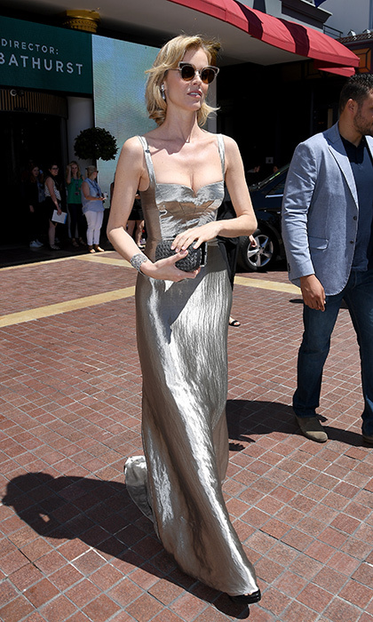 Eva Herzigova slipped into a silver gown on day one of the 70th annual Cannes Film Festival. 