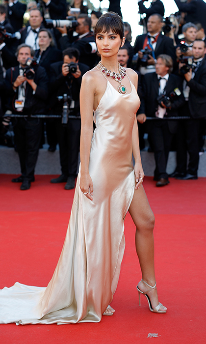 Emily Ratajkowski stunned in a statement necklace and lingerie-inspired silk dress at the opening gala screening of <I>Ismael's Ghosts (Les Fantomes d'Ismael)</I> during the 70th annual Cannes Film Festival.