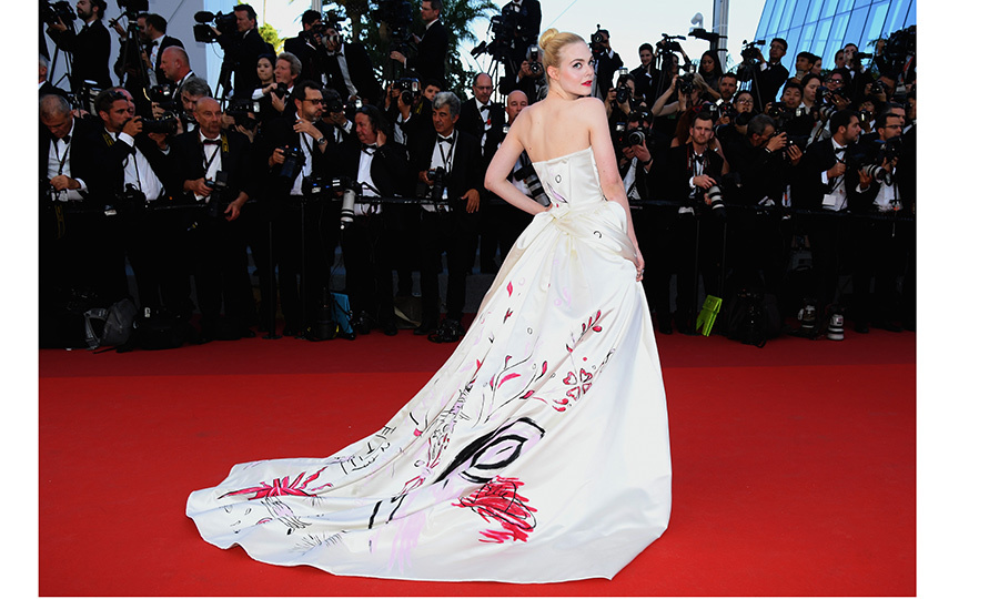 Elle Fanning looked like a fairytale princess in Vivienne Westwood Couture on the red carpet of <I>Ismael's Ghosts (Les Fantomes d'Ismael)</I> during the 70th annual Cannes Film Festival at Palais des Festivals.