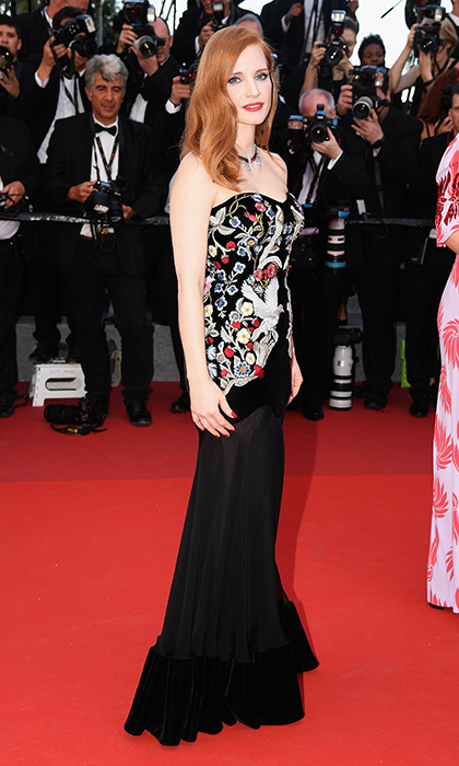 Cannes jury member Jessica Chastain wore an embroidered strapless gown by Alexander McQueen to the Opening Gala of the 70th annual Cannes Film Festival at Palais des Festivals.