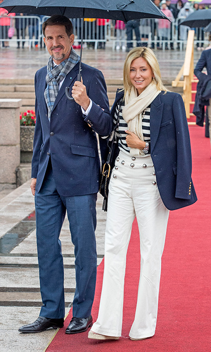 Also attending the Norwegian royals' yacht birthday party were Crown Prince Pavlos of Greece and wife Crown Princess Marie Chantal, who wore a nautical-inspired ensemble.