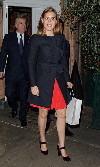 Princess Beatrice styled her pleated dress and bow bedecked coat with purple velvet mary janes as she left Harry's Bar in London, England.